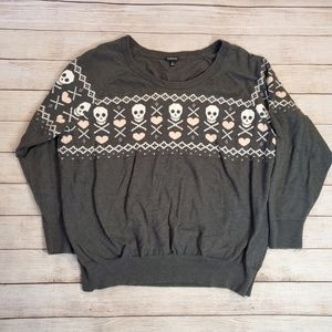 Torrid Skull and Hearts Sweater Grey Size 4